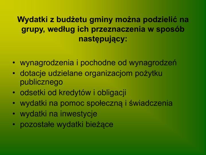 Wydatki z budżetu gminy można podzielić na grupy, według ich przeznaczenia w sposób następujący: