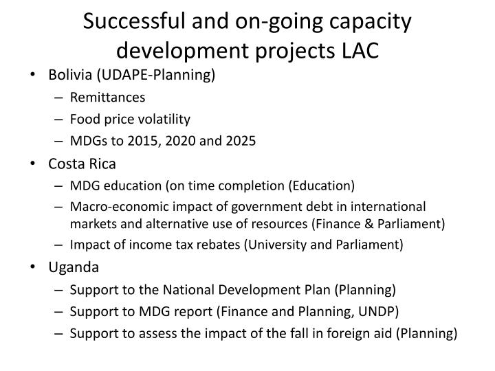 Successful and on going capacity development projects lac