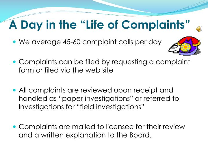 """A Day in the """"Life of Complaints"""""""