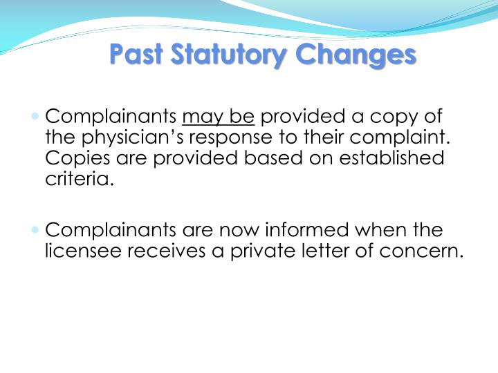 Past Statutory Changes