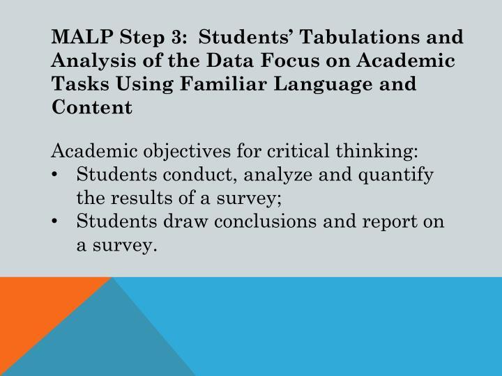 MALP Step 3:  Students