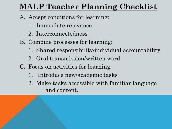 MALP Teacher Planning Checklist