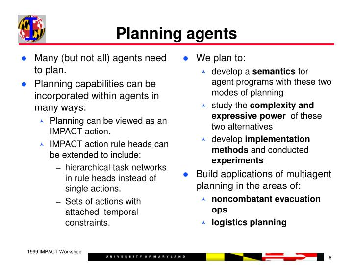 Many (but not all) agents need to plan.