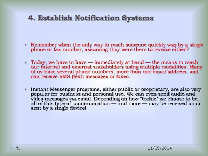 4. Establish Notification Systems