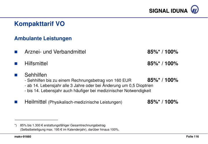 *) 85% bis 1.300 € erstattungsfähiger Gesamtrechnungsbetrag