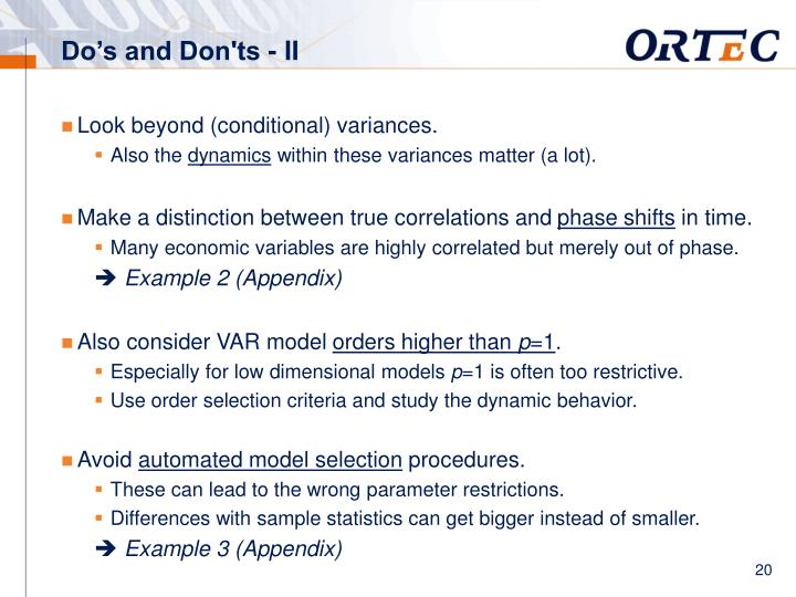 Do's and Don'ts - II
