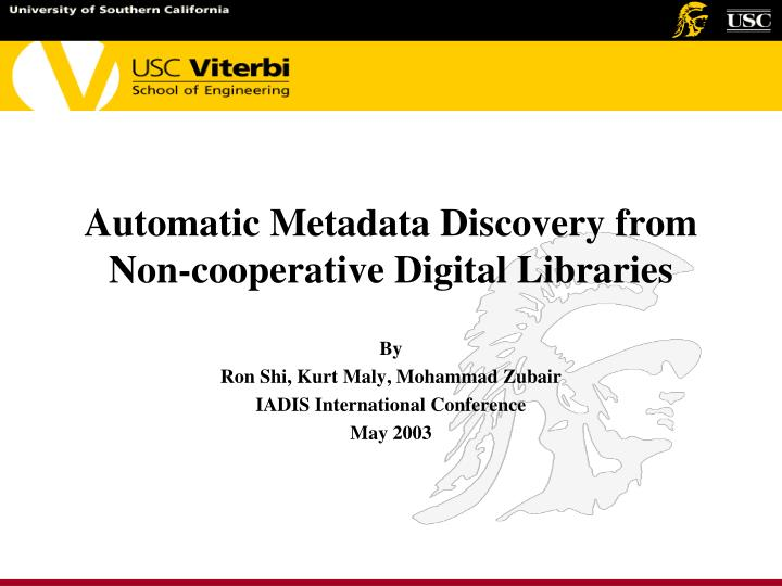 automatic metadata discovery from non cooperative digital libraries