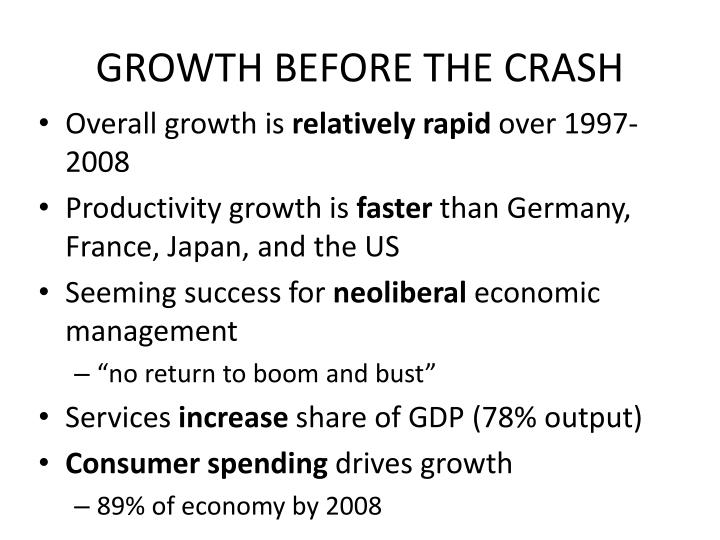 GROWTH BEFORE THE CRASH