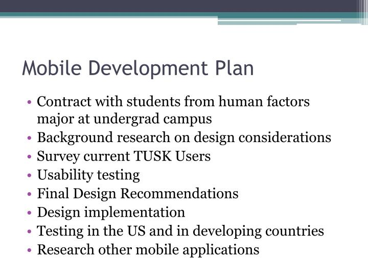 Mobile Development Plan
