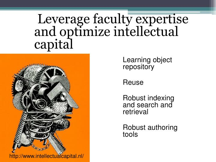 Leverage faculty expertise and optimize intellectual capital