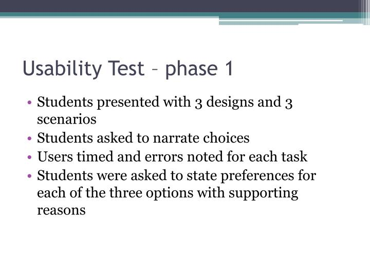 Usability Test – phase 1
