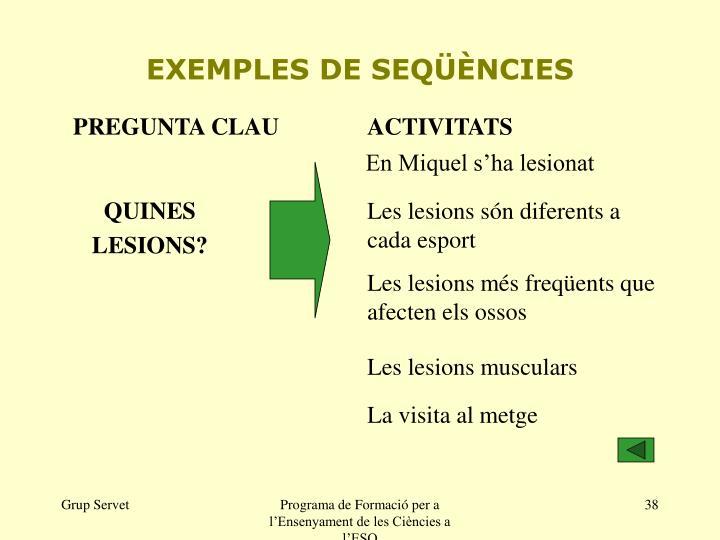 EXEMPLES DE SEQÜÈNCIES