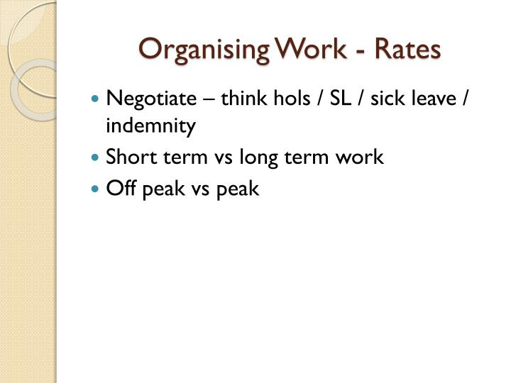 Organising Work - Rates