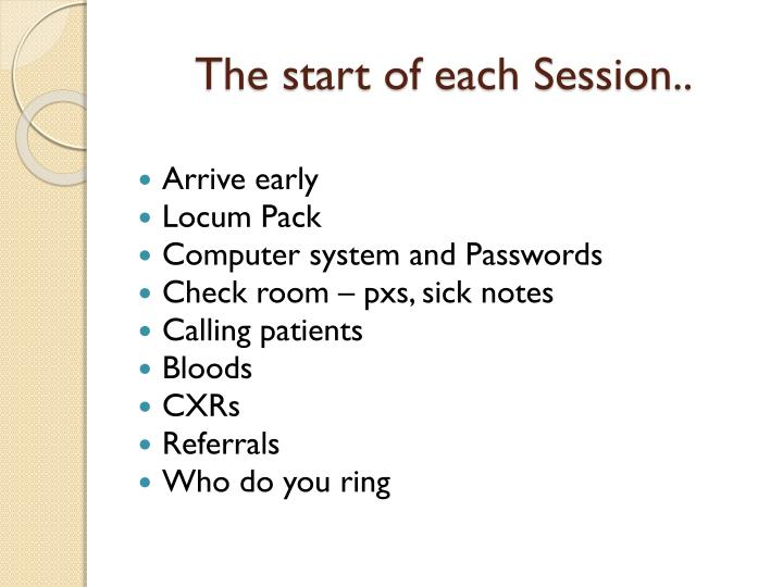 The start of each Session..