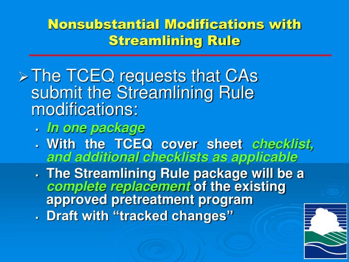 Nonsubstantial Modifications with Streamlining Rule