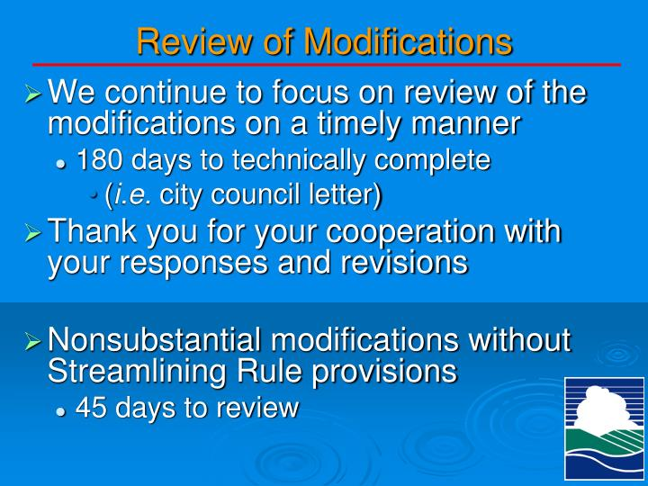Review of Modifications
