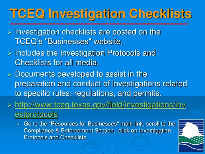 TCEQ Investigation Checklists