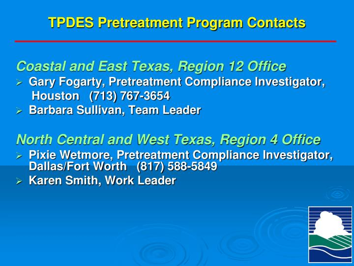 Tpdes pretreatment program contacts1