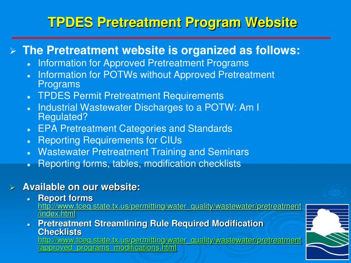 TPDES Pretreatment Program Website