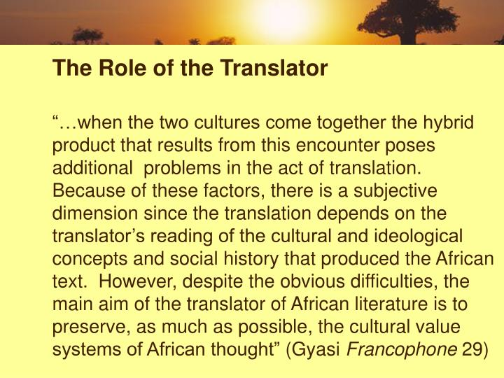 The Role of the Translator