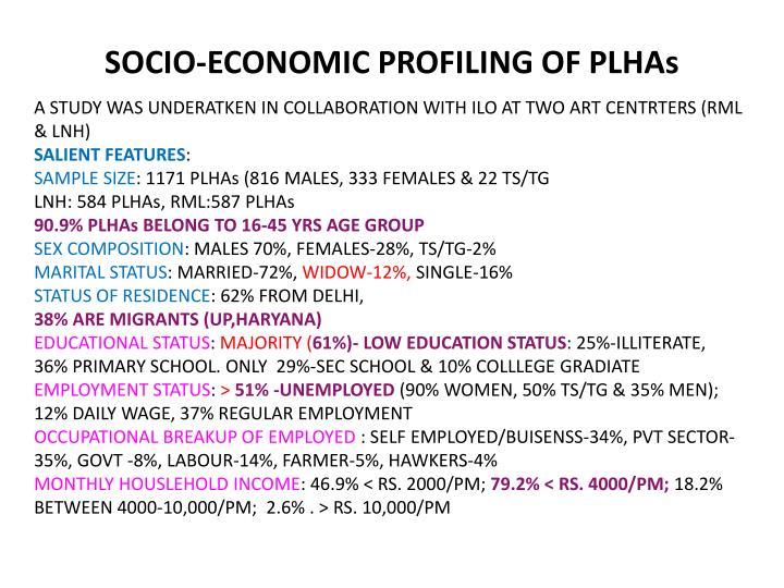SOCIO-ECONOMIC PROFILING OF PLHAs