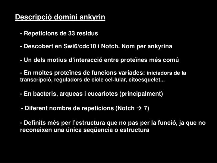 Descripció domini ankyrin