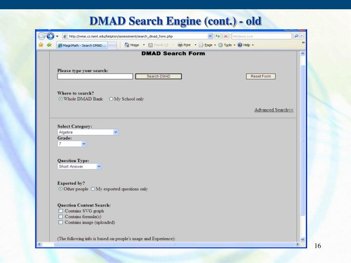 DMAD Search Engine (cont.) - old