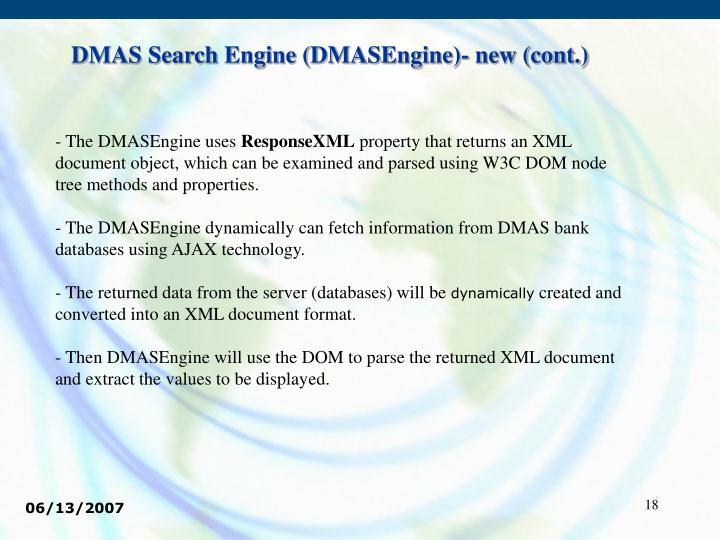 DMAS Search Engine (DMASEngine)- new (cont.)