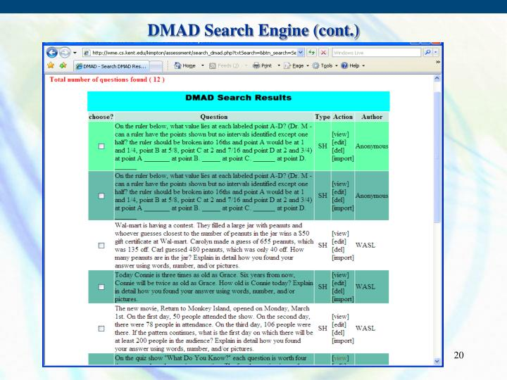 DMAD Search Engine (cont.)
