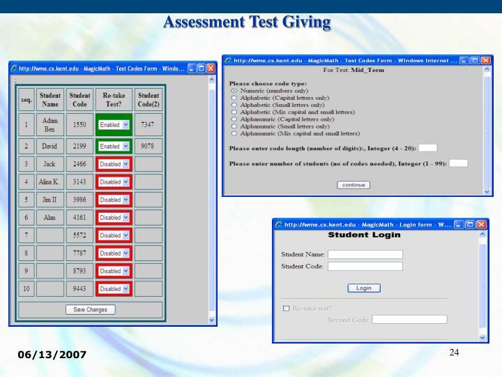 Assessment Test Giving