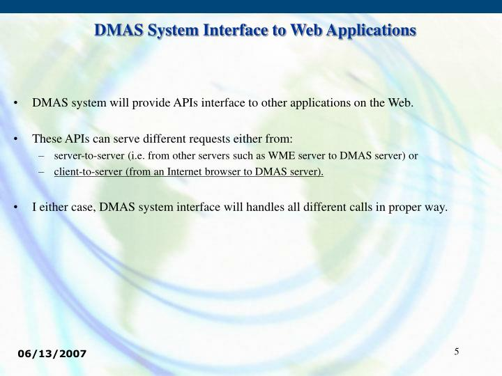 DMAS System Interface to Web Applications