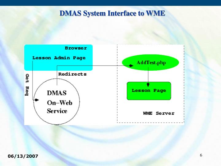 DMAS System Interface to WME