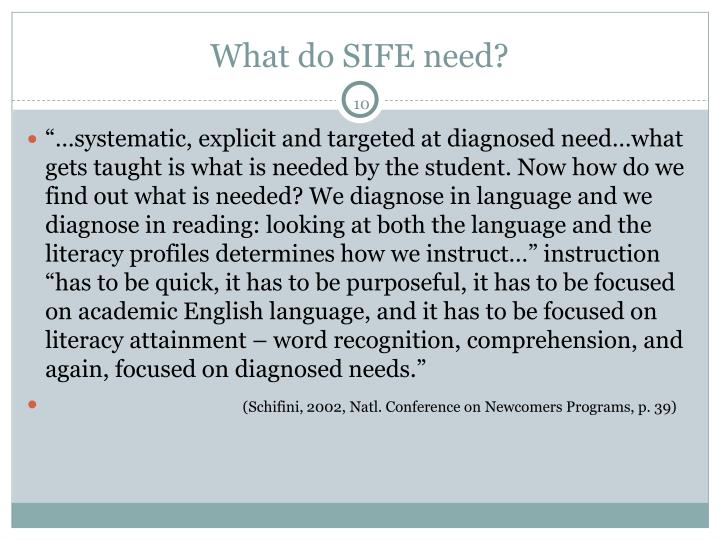 What do SIFE need?