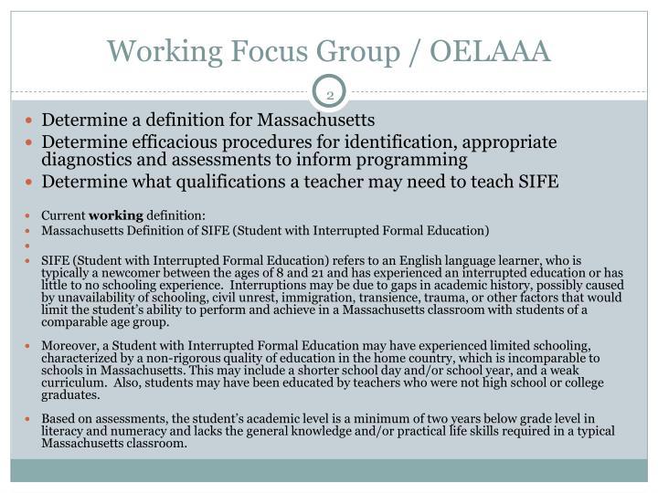 Working focus group oelaaa