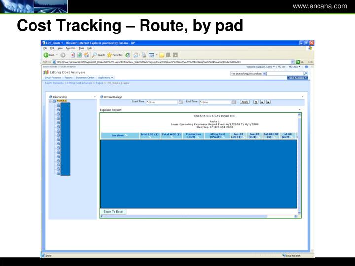 Cost Tracking – Route, by pad