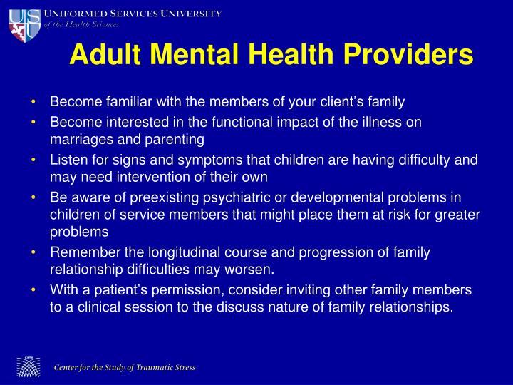 Adult Mental Health Providers