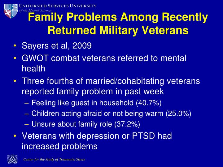 Family Problems Among Recently Returned Military Veterans