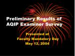 preliminary results of aqip examiner survey
