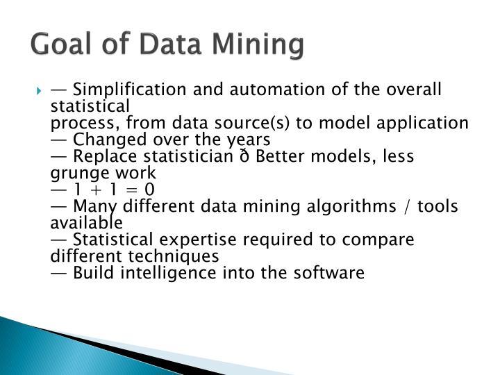 Goal of Data Mining