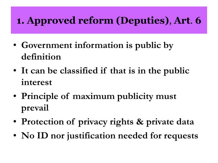 1. Approved reform (Deputies)