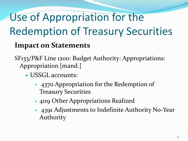 Use of Appropriation for the Redemption of Treasury Securities