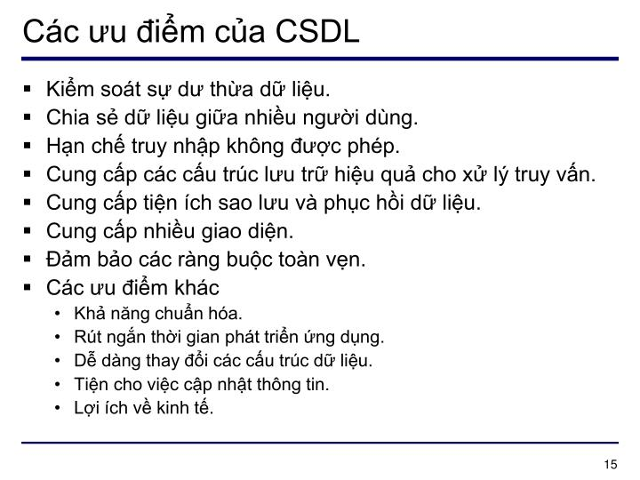 Các ưu điểm của CSDL