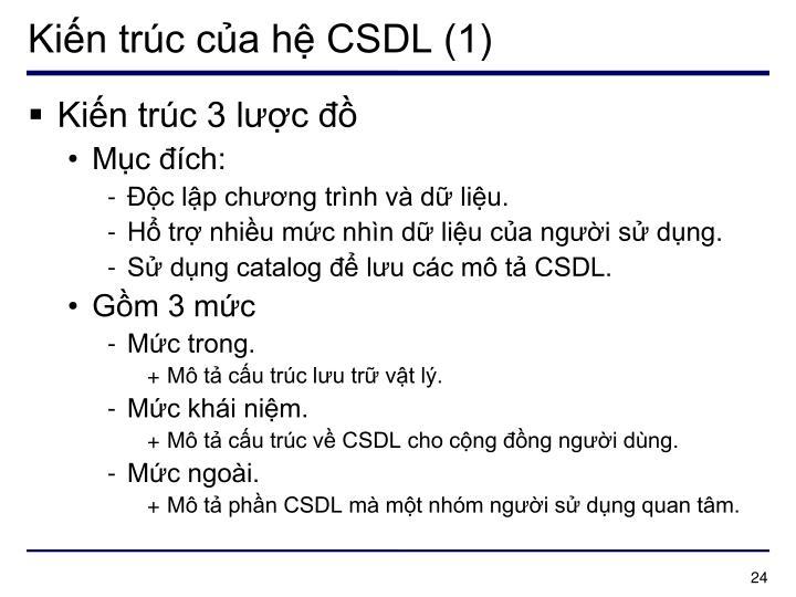 Kiến trúc của hệ CSDL (1)