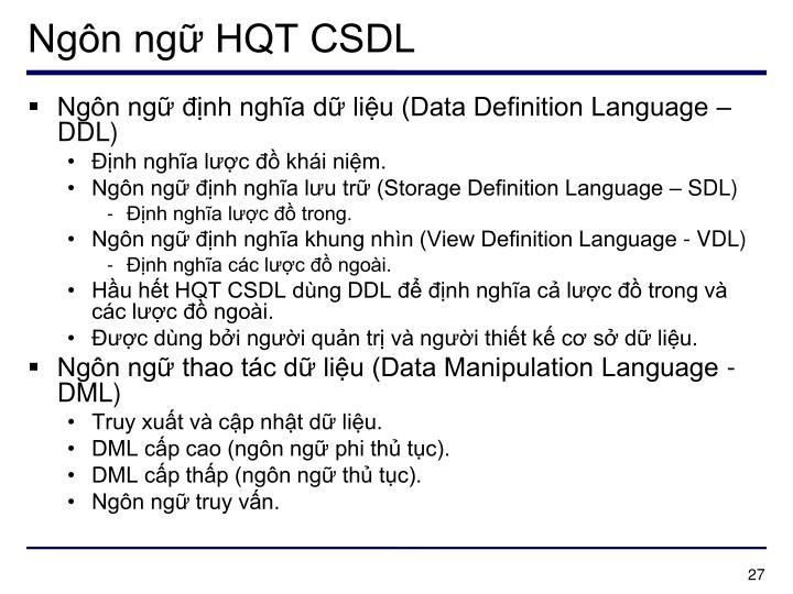Ngôn ngữ HQT CSDL