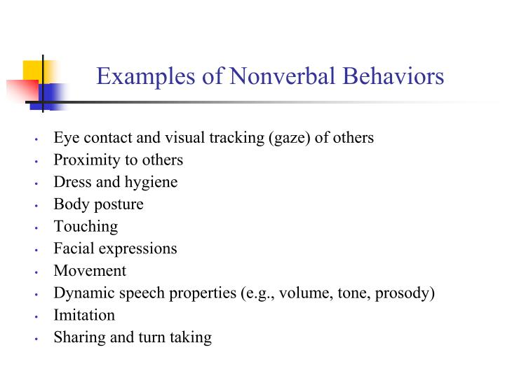 Examples of Nonverbal Behaviors