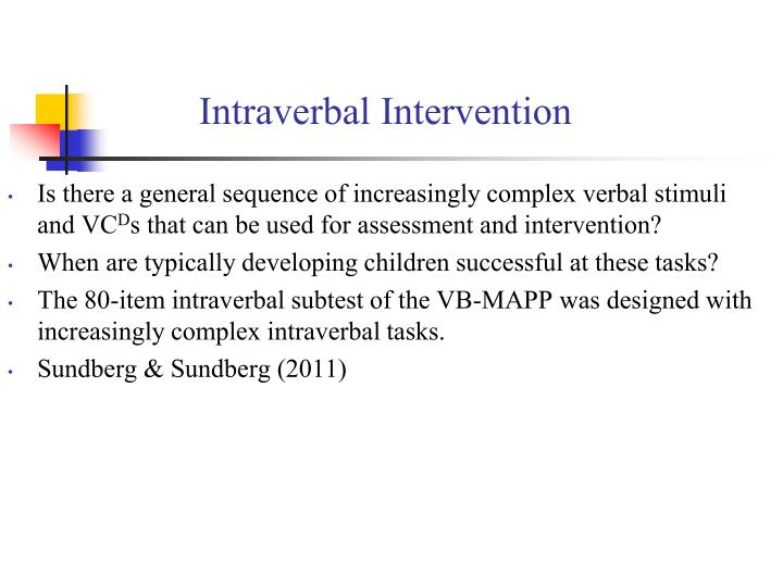 Intraverbal Intervention