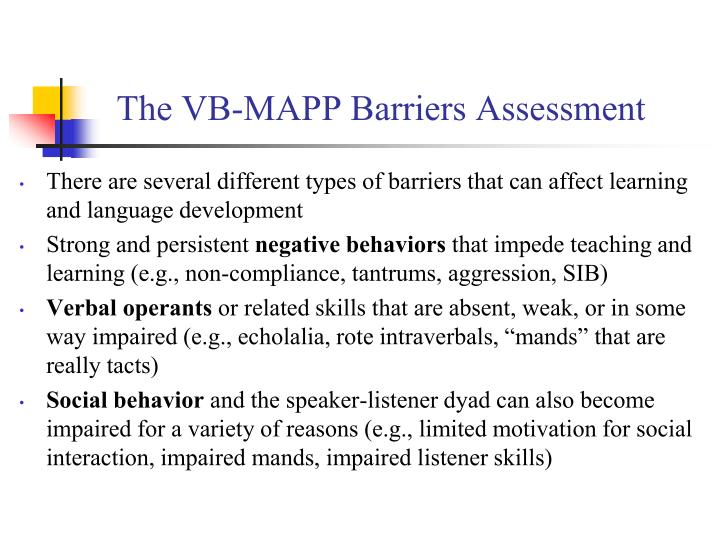 The vb mapp barriers assessment1