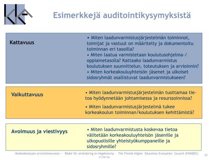 Esimerkkejä auditointikysymyksistä