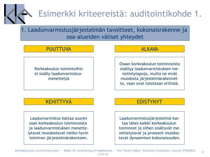 Esimerkki kriteereistä: auditointikohde 1.