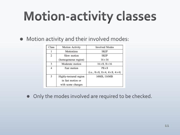 Motion-activity classes